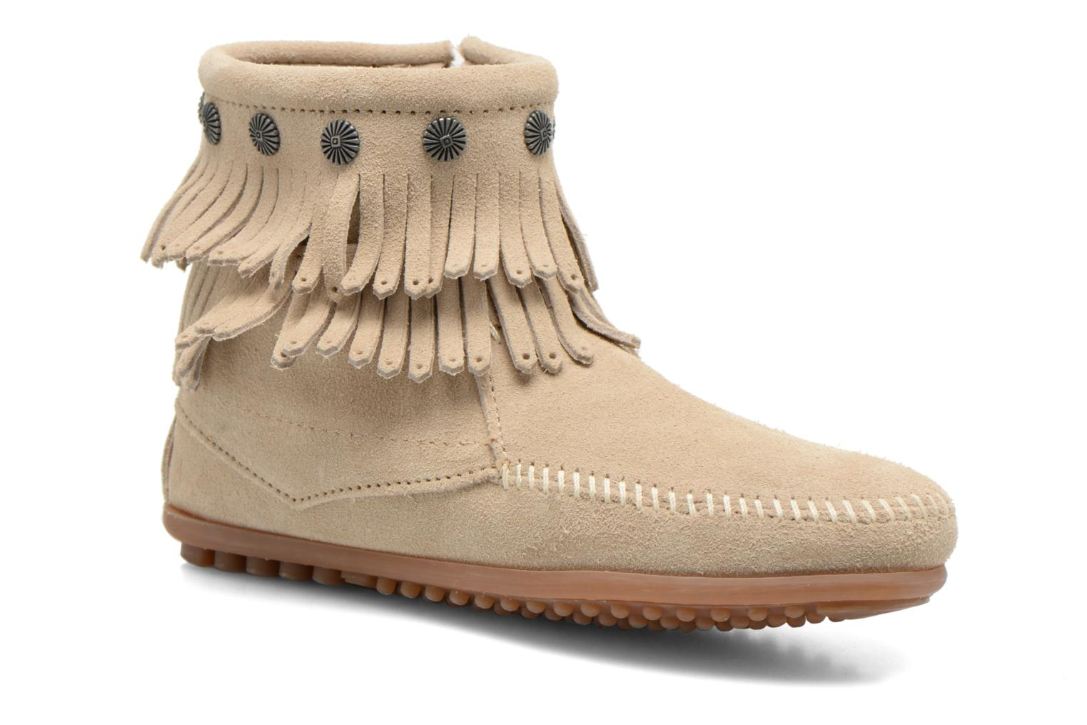 Ankle boots Minnetonka DOUBLE FRINGE BT Beige detailed view/ Pair view