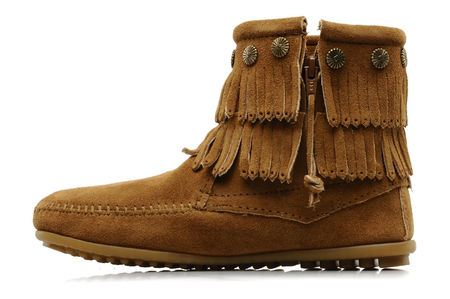 Bottines et boots Minnetonka DOUBLE FRINGE BT Marron vue face