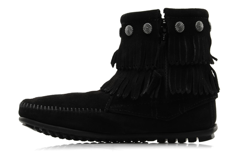 Bottines et boots Minnetonka DOUBLE FRINGE BT Noir vue face