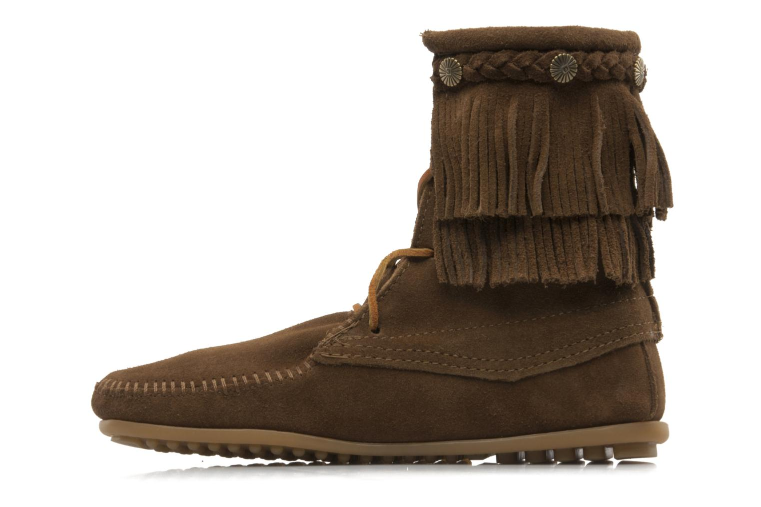 Ankle boots Minnetonka DOUBLE FRINGE TRAMPER Brown front view