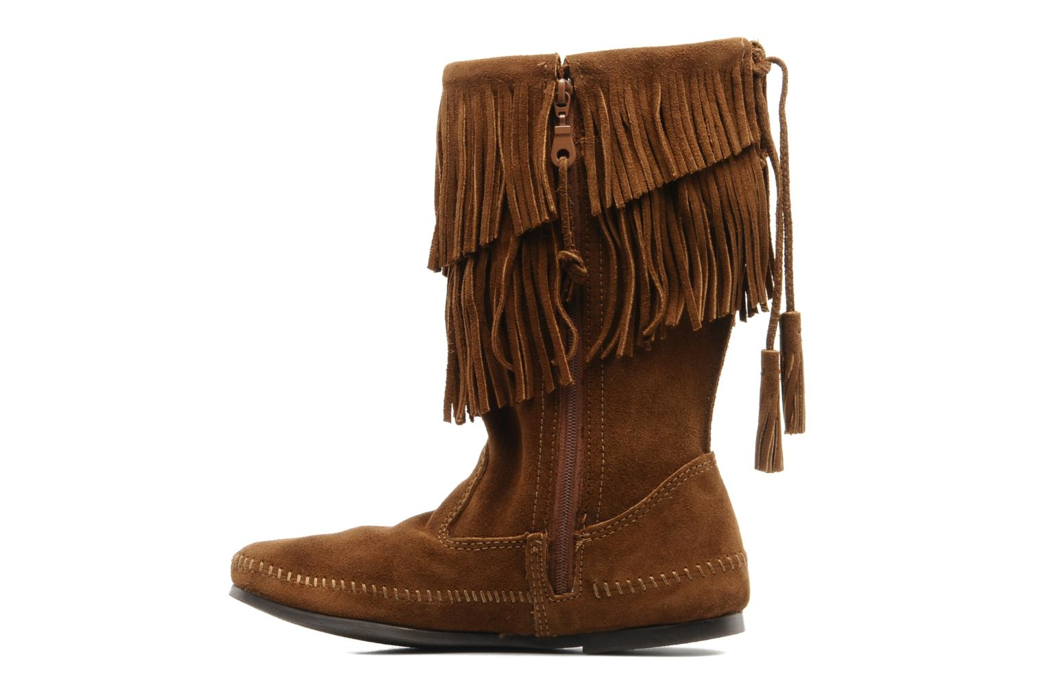 Bottines et boots Minnetonka CALF HI 2LAYER FRINGE Marron vue face