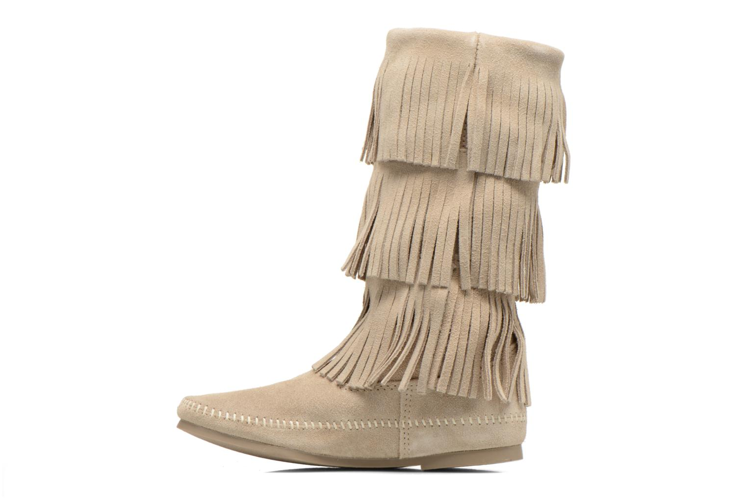 Bottines et boots Minnetonka 3 LAYER FRINGE BOOT Beige vue face