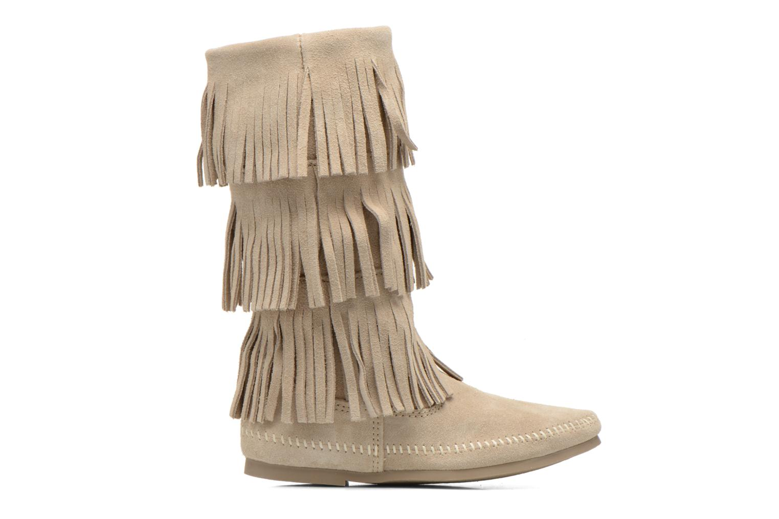 Ankle boots Minnetonka 3 LAYER FRINGE BOOT Beige back view