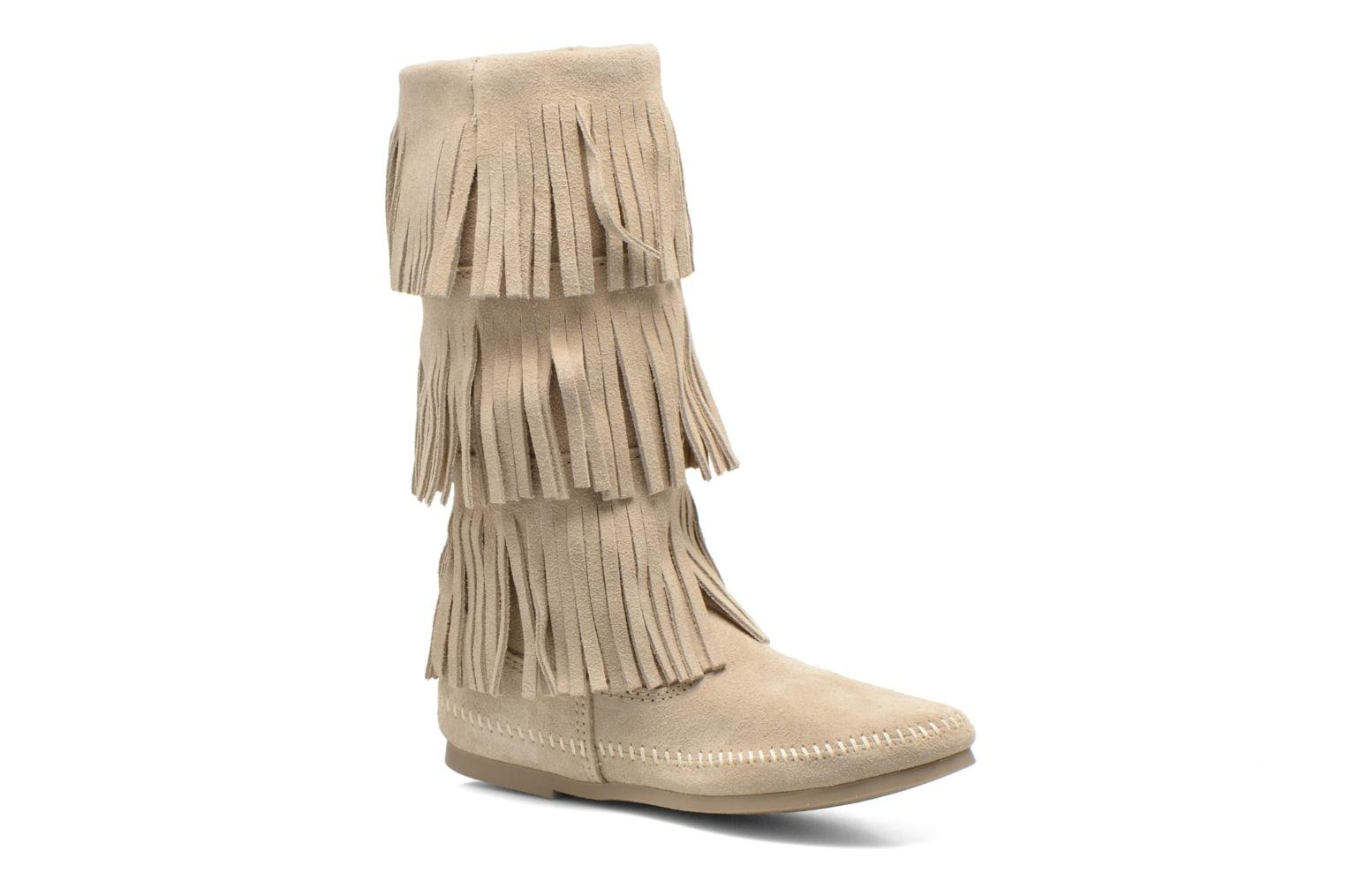 Ankle boots Minnetonka 3 LAYER FRINGE BOOT Beige detailed view/ Pair view