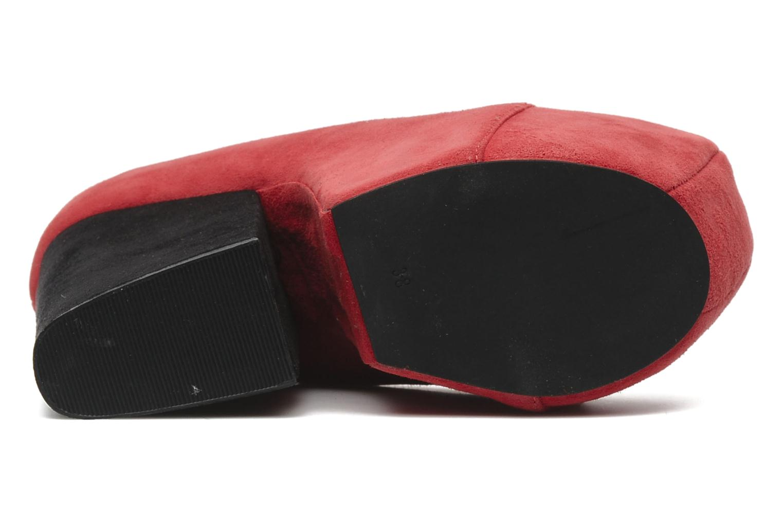 FREDA DK RED SUEDE/BLACK SUEDE HEEL
