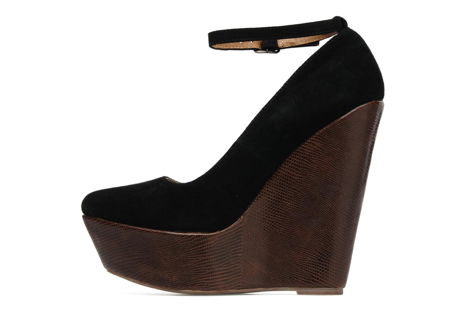 PIZAN BLACK SUEDE/TAN LIZZARDWEDGE