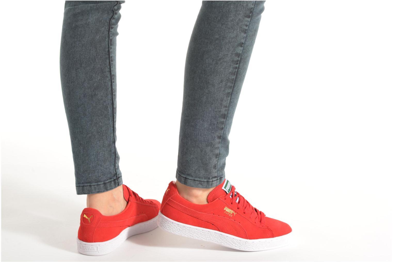 Sneaker Puma Suede classic eco W weinrot ansicht von unten / tasche getragen