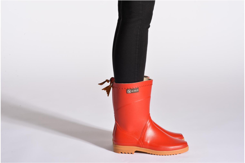 Bottines et boots Aigle Bison Lady Rouge vue bas / vue portée sac