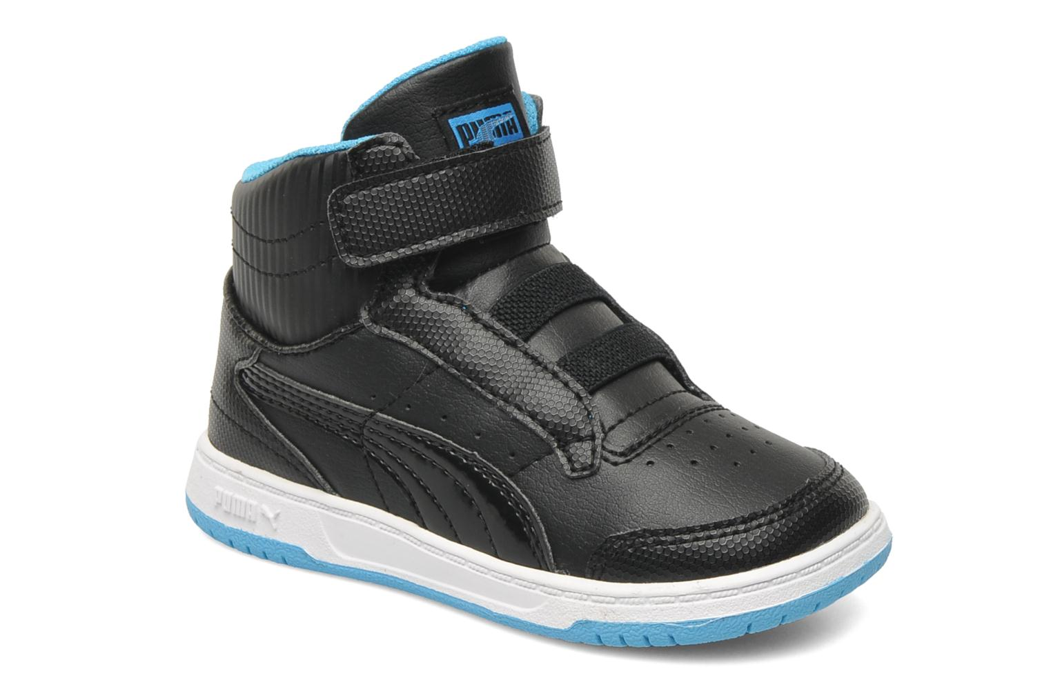 Full Court Hi V Kids Black-fluo blue-white