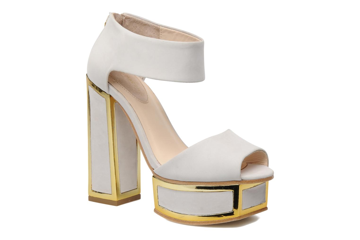 PEARL GREY LEATHER GOLD METAL HEEL