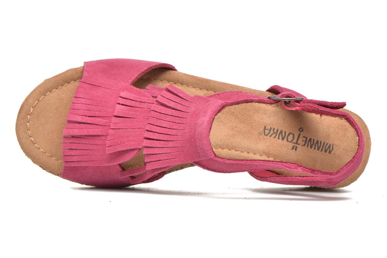 Sandalen Minnetonka Central rosa ansicht von links