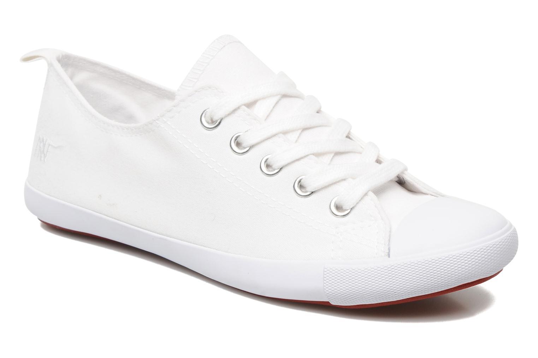 Tennis Lacets Toile Unie Blanc