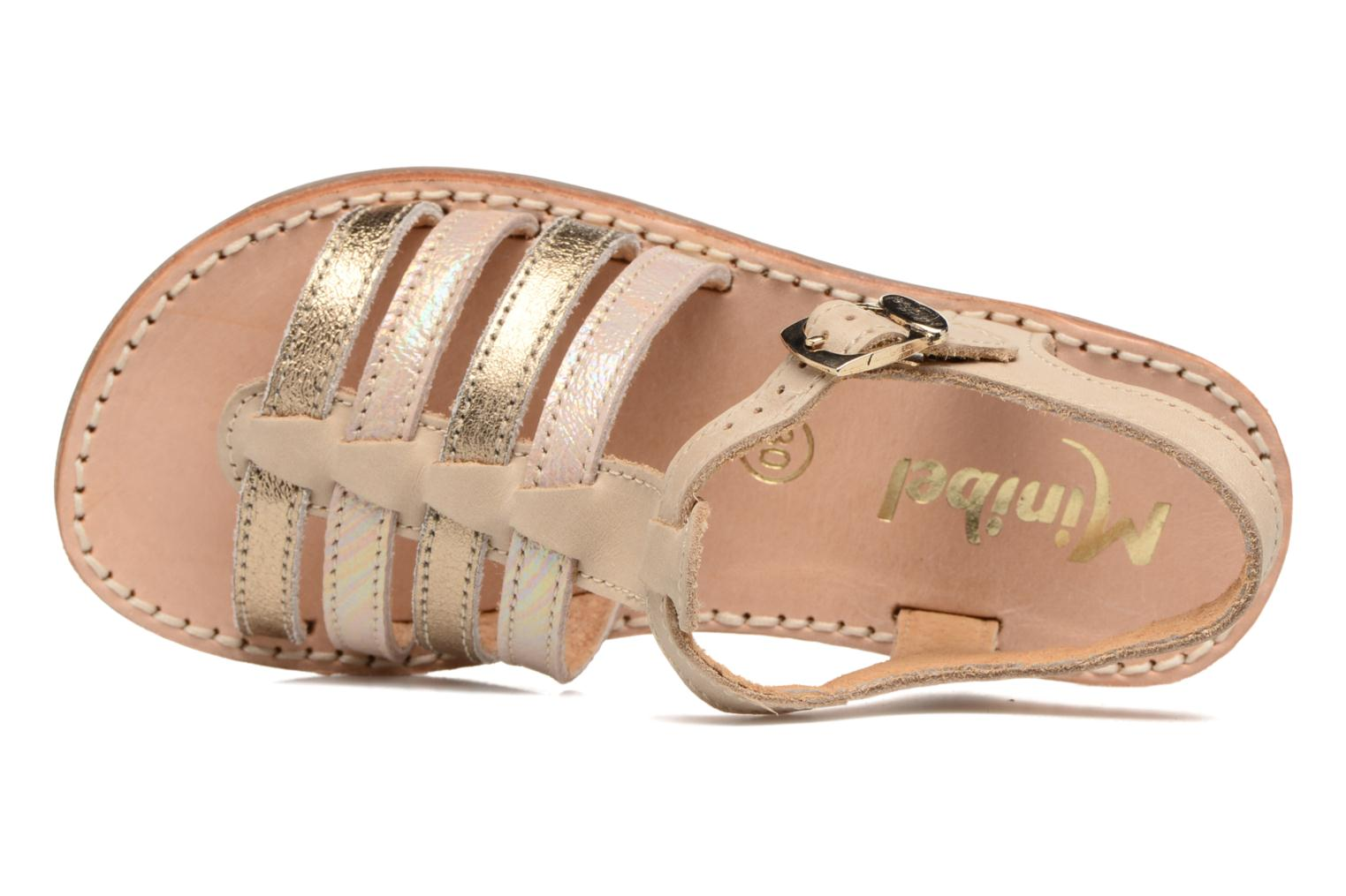 Sandals Minibel Chana Bronze and Gold view from the left