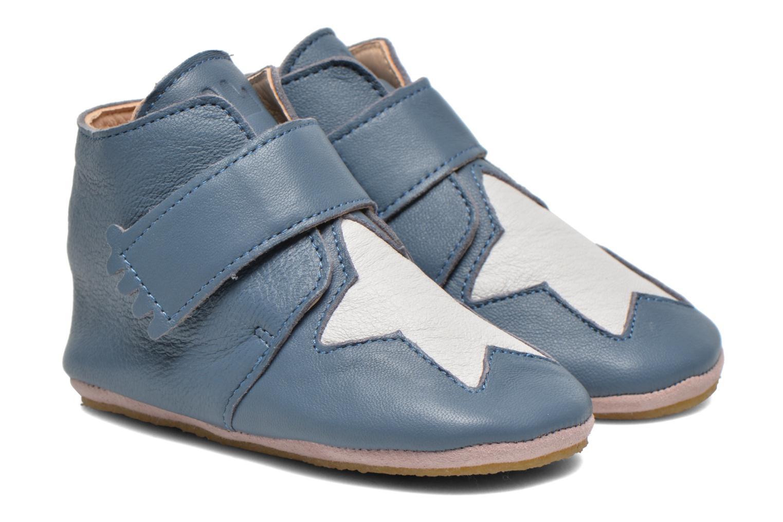 Chaussons Easy Peasy Kiny Patin Etoile Bleu vue détail/paire