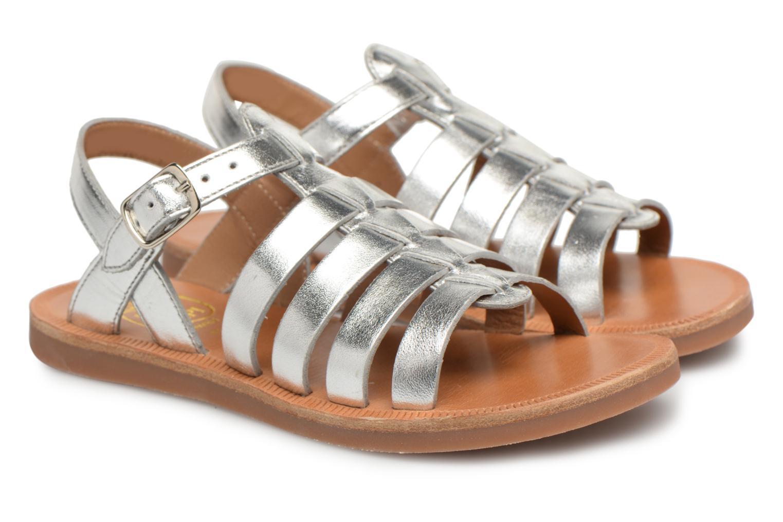 Sandals Pom d Api Plagette Strap Silver 3/4 view