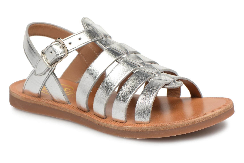 Sandals Pom d Api Plagette Strap Silver detailed view/ Pair view