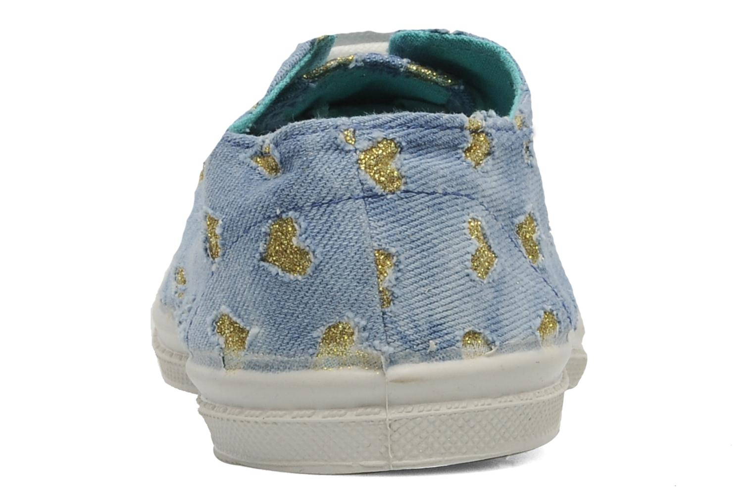 Trainers Bensimon Tennis Glitter Love E Bronze and Gold view from the right