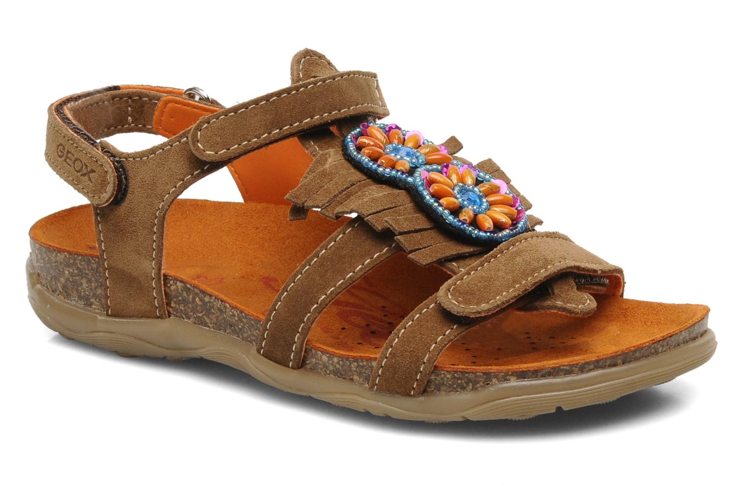 Sandals Geox J S.ALOHA A Brown detailed view/ Pair view