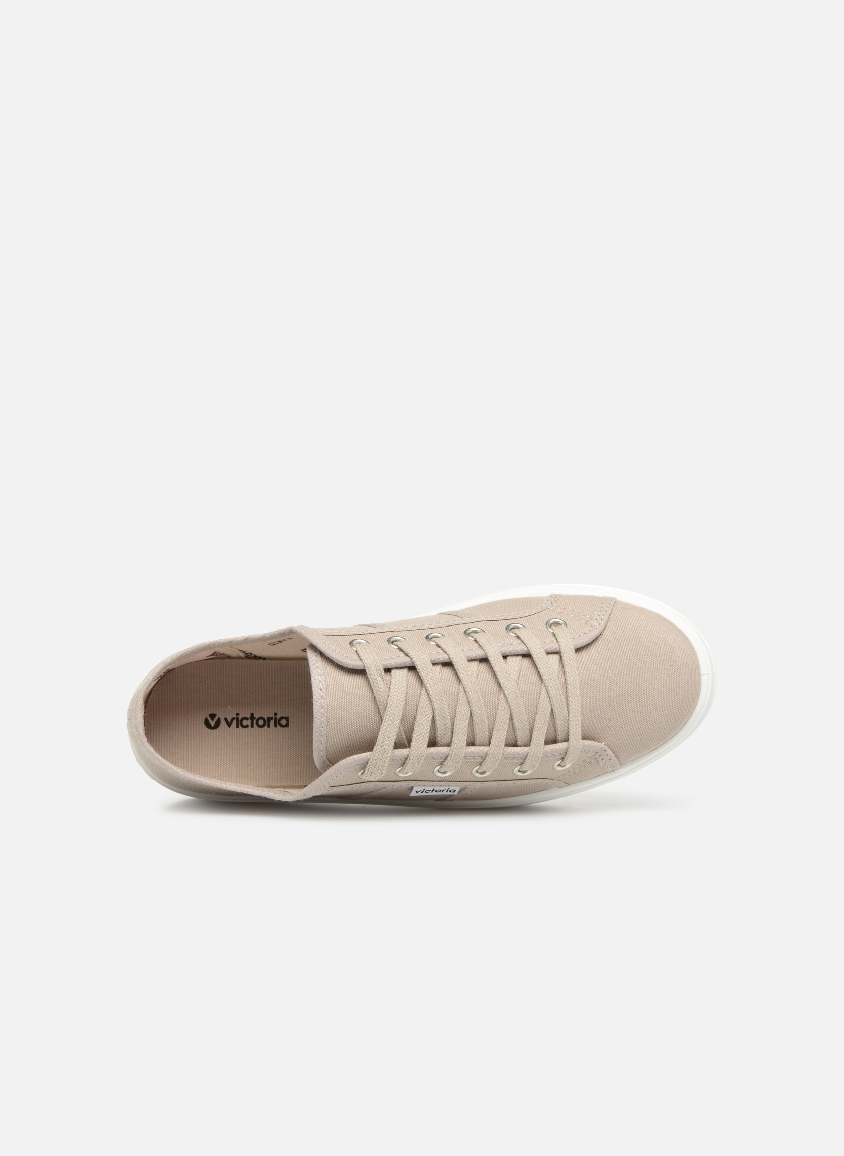 Trainers Victoria Blucher Lona Plataforma Beige view from the left