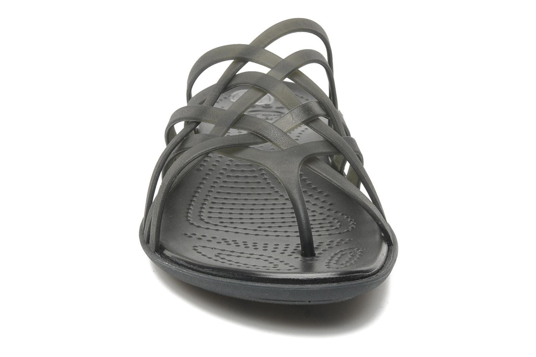 Zoccoli Crocs Huarache Flip Flop Women Nero modello indossato