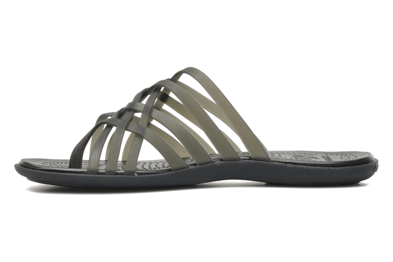 Zuecos Crocs Huarache Flip Flop Women Negro vista de frente