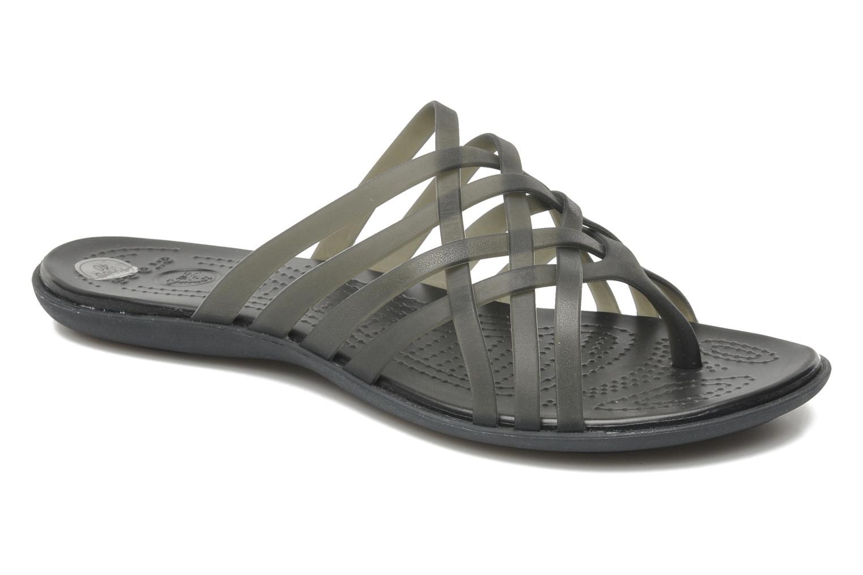 Zuecos Crocs Huarache Flip Flop Women Negro vista de detalle / par
