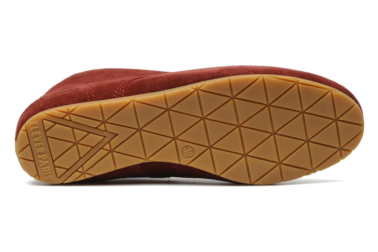 Trainers Eleven paris Basic Colors Suede F Burgundy view from above