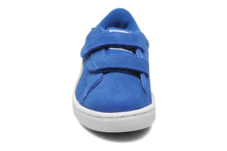 Sneakers Puma Suede 2 Straps Kids. Azzurro modello indossato