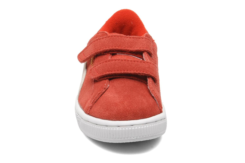 Baskets Puma Suede 2 Straps Kids. Rouge vue portées chaussures