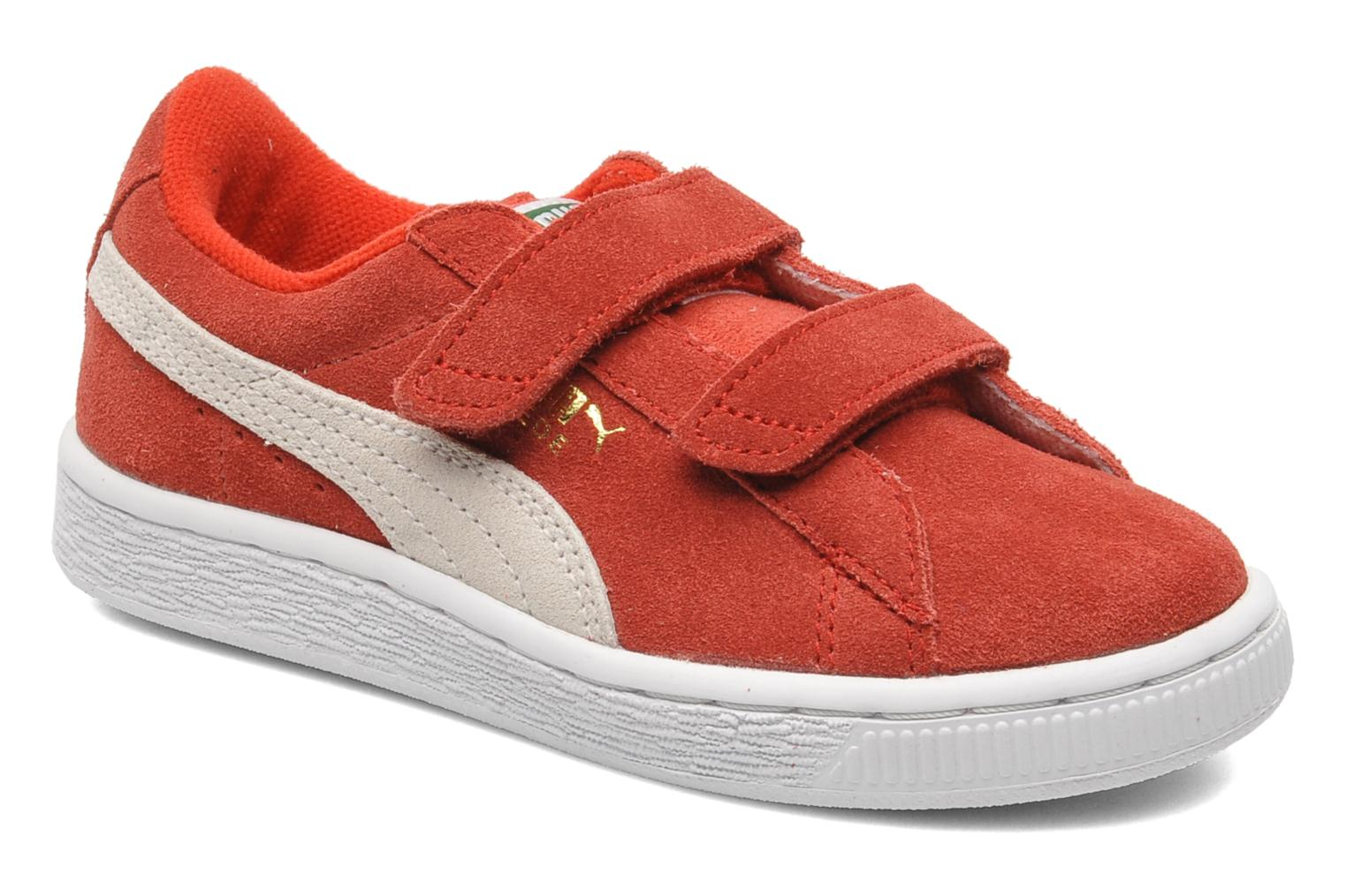 Trainers Puma Suede 2 Straps Kids. Red detailed view/ Pair view