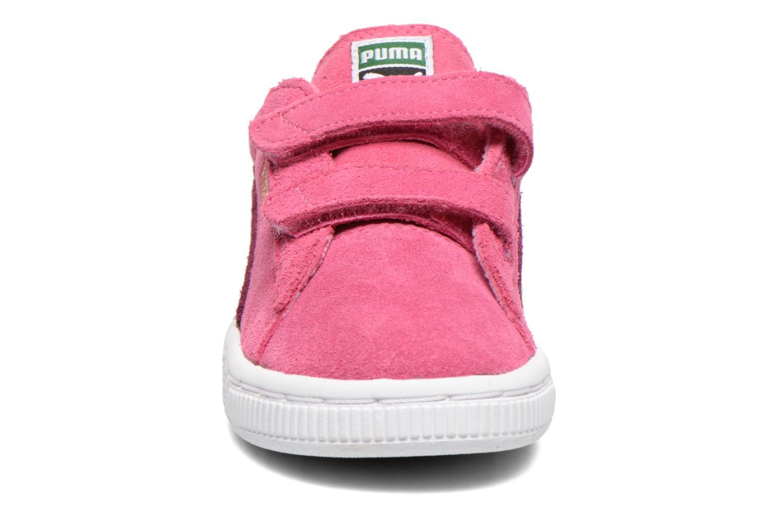 Baskets Puma Suede 2 Straps Kids. Rose vue portées chaussures