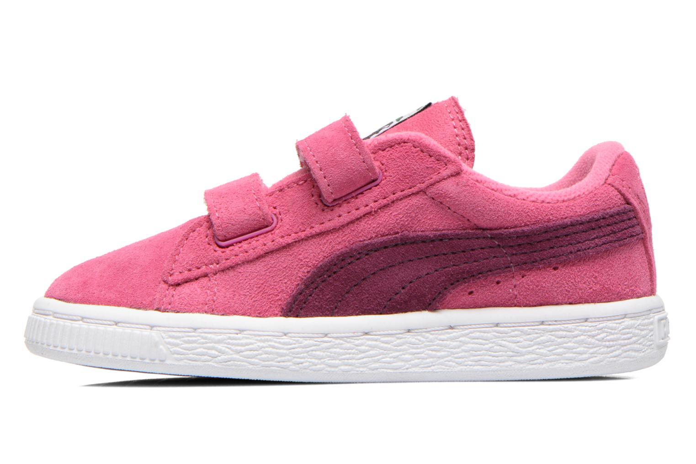 Sneaker Puma Suede 2 Straps Kids. rosa ansicht von vorne