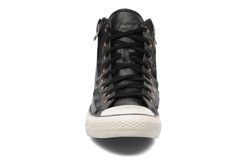 Baskets Converse Chuck Taylor All Star Rc Leather Double Zip Hi M Noir vue portées chaussures