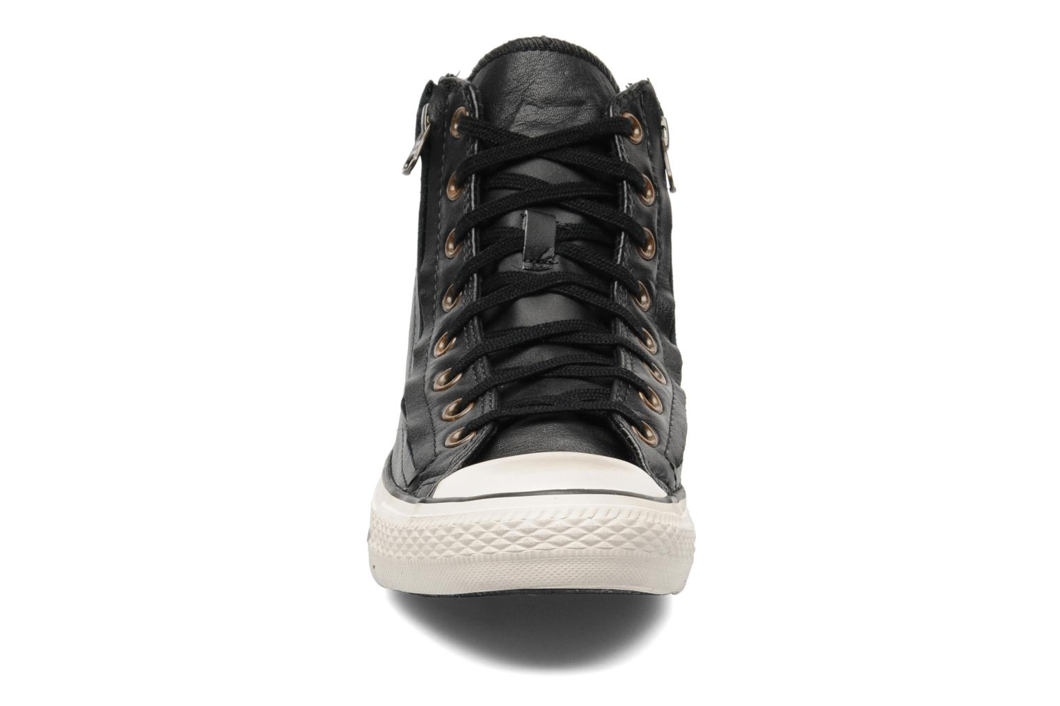 Baskets Converse Chuck Taylor All Star Rc Leather Double Zip Hi M Noir vue portées chaussures