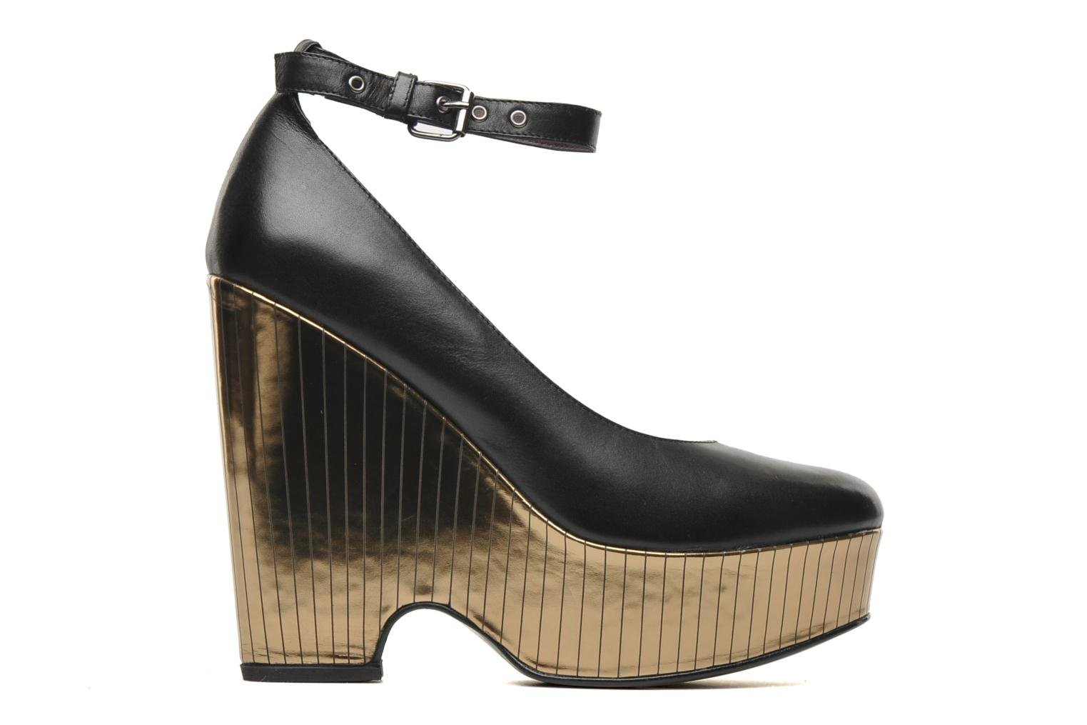 Bellagio Platform Black Leather / Gold Combo