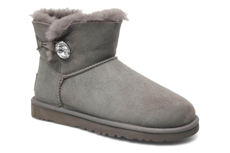 Bottines et boots UGG Mini Bailey Button Bling Gris vue détail/paire