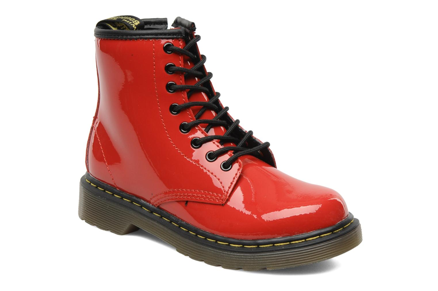 Bottines et boots Dr. Martens Juniors Delaney Lace boot Rouge vue détail/paire