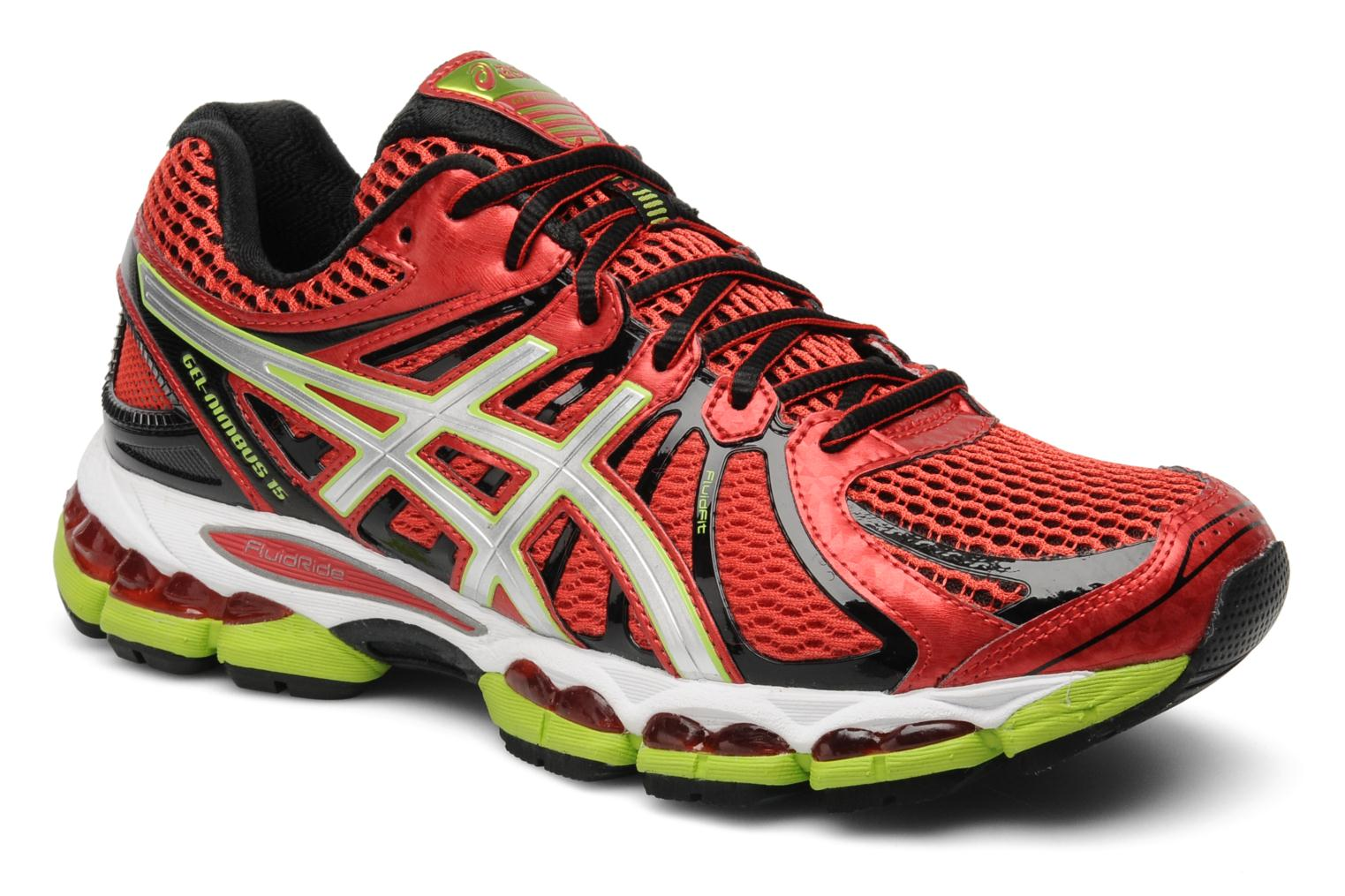 Sport shoes Asics Gel-Nimbus 15 Red detailed view/ Pair view