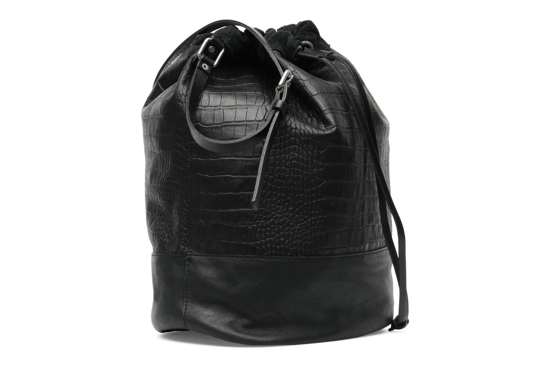 Håndtasker Pieces Daria leather Bucket bag Sort Se fra højre