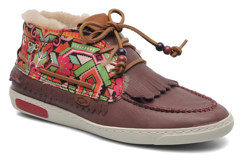 Landom Hi Fur Burguny Leather/Ethnic