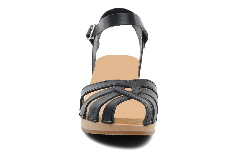 Sandals Swedish Hasbeens Cross Strap Debutant Black model view
