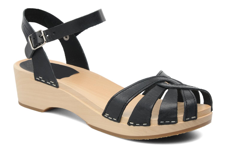 Sandals Swedish Hasbeens Cross Strap Debutant Black detailed view/ Pair view