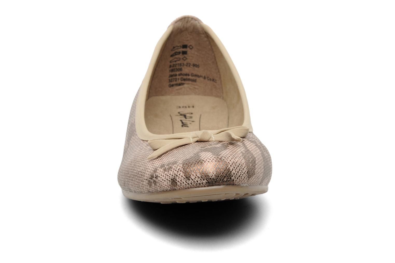 Ballerines Jana shoes Sogemmi Beige vue portées chaussures
