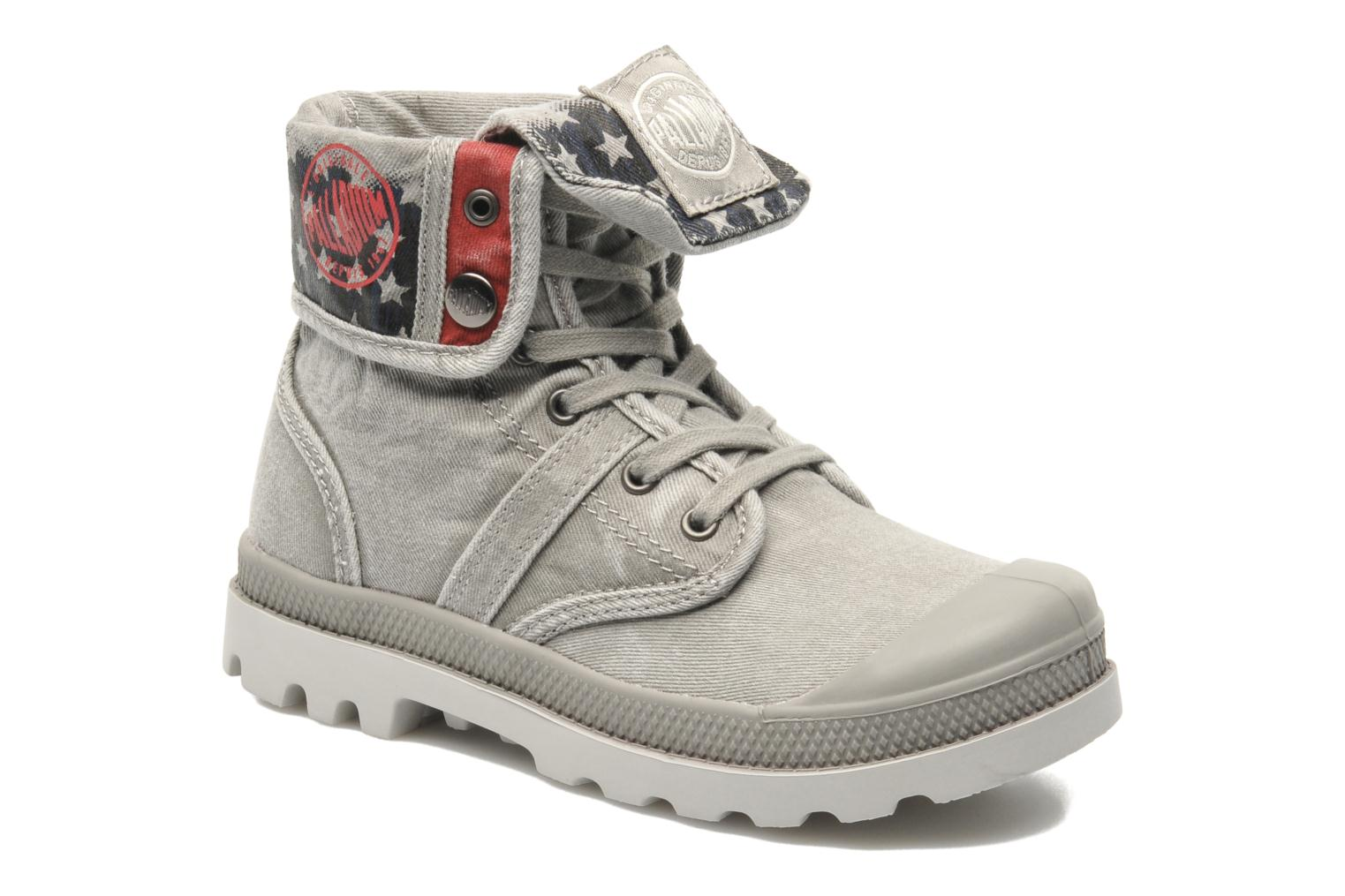 Bottines et boots Palladium Baggy Kid Flag Gris vue détail/paire