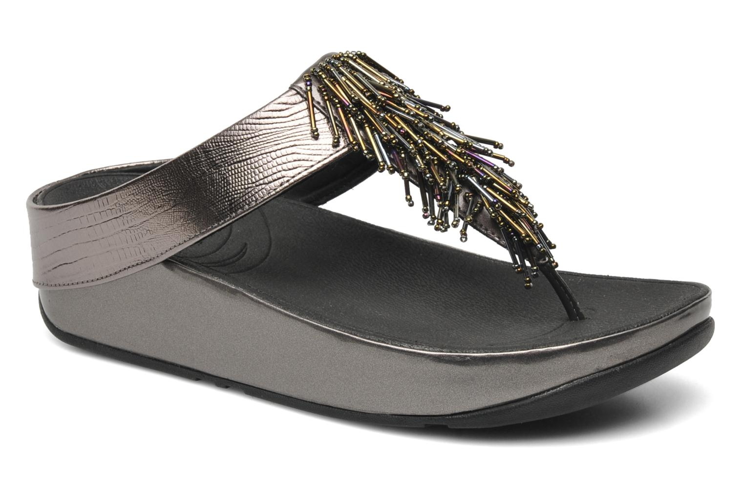 Tongs FitFlop Cha Cha Crystal Argent vue détail/paire