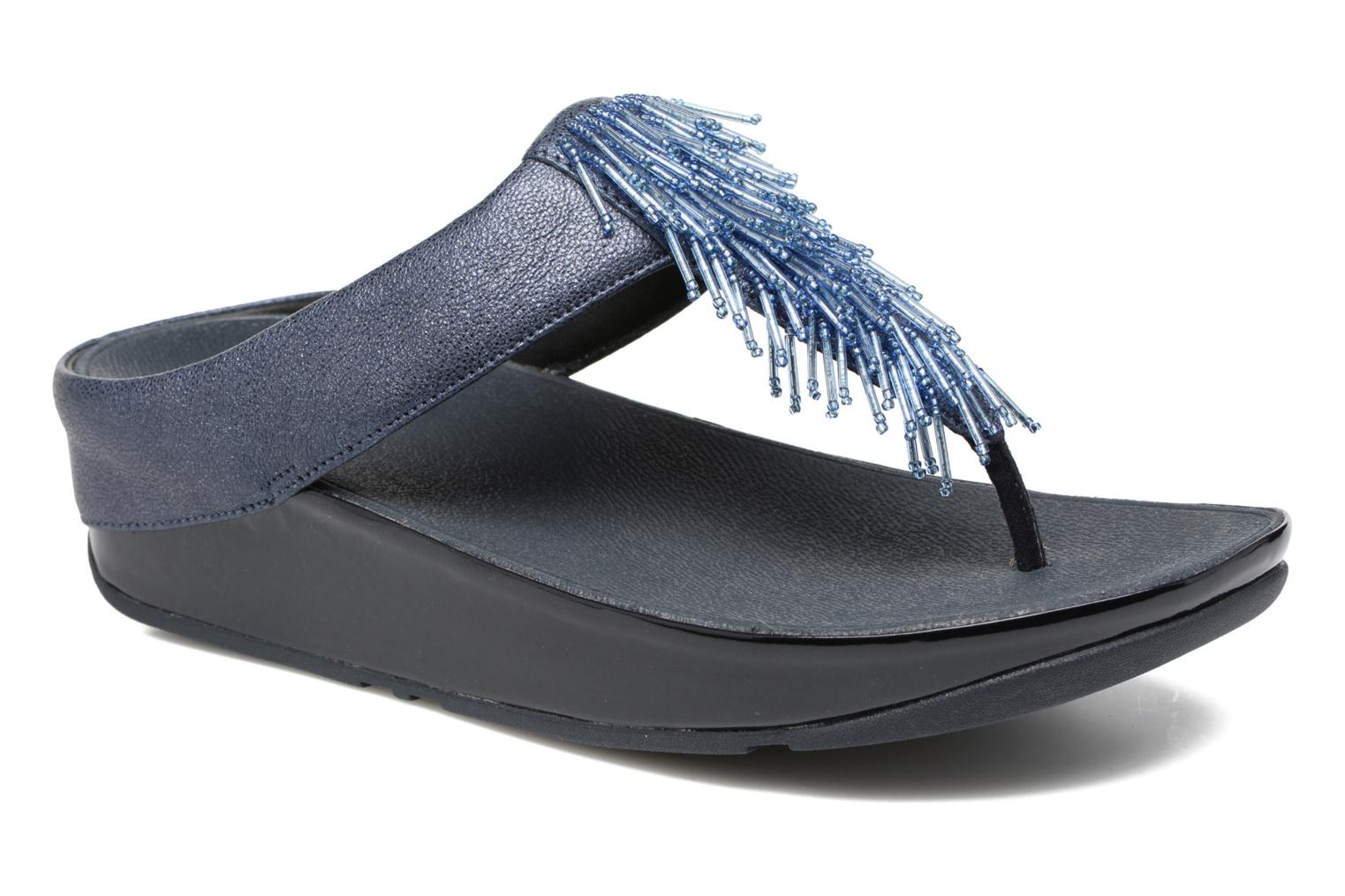 Tongs FitFlop Cha Cha Crystal Bleu vue détail/paire
