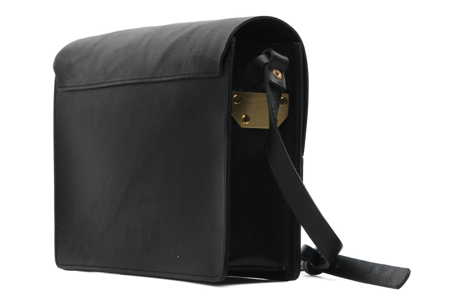 Handbags Pieces Siw leather Crossover bag Black view from the right