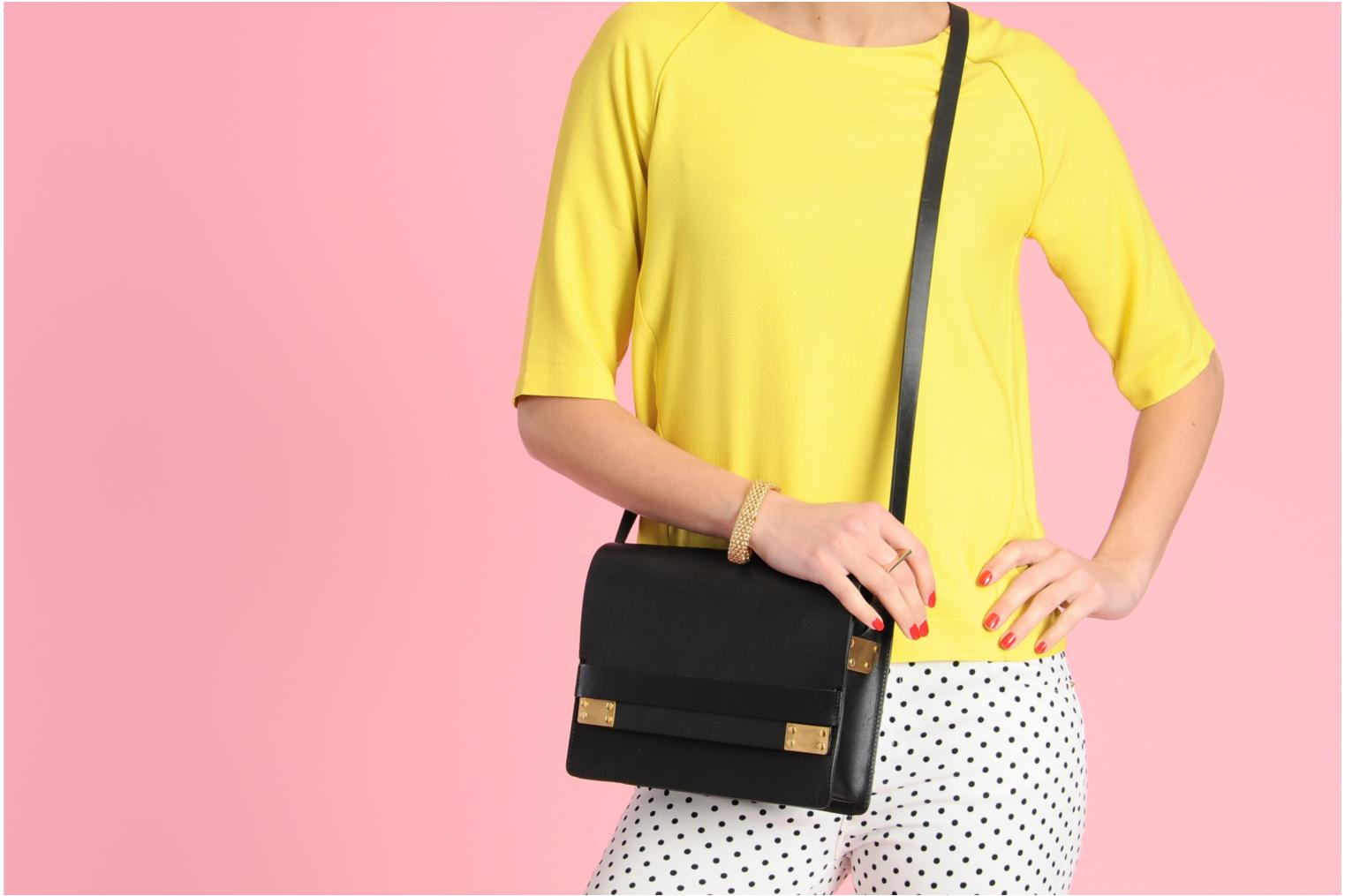 Handbags Pieces Siw leather Crossover bag Black view from above