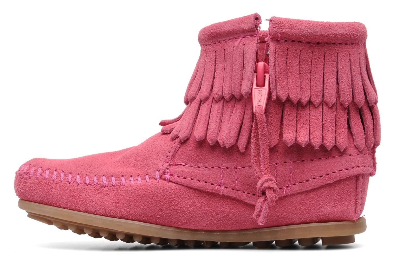 Ankelstøvler Minnetonka Double Fringe bootie G Pink se forfra
