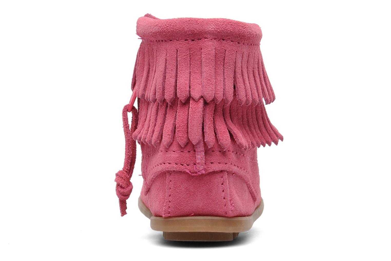 Ankelstøvler Minnetonka Double Fringe bootie G Pink Se fra højre